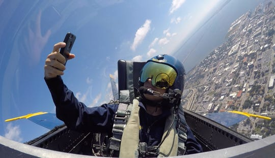Here is a selfie of PNJ photojournalist Gregg Pachkowski over downtown Pensacola during his flight with the Blue Angels in Pensacola on October 31, 2018.