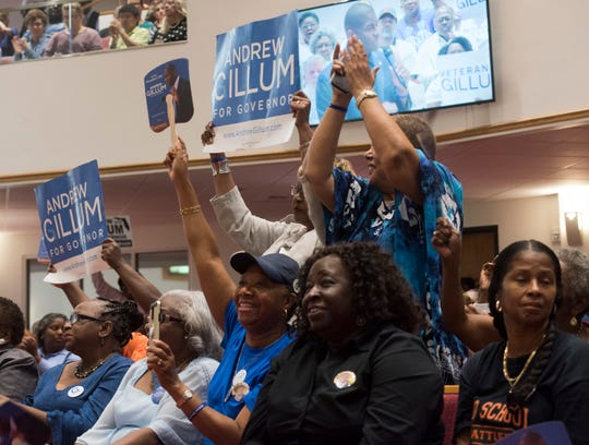 Veterans for Gillum cheer for the Democratic gubernatorial candidate Andrew Gillum during his campaign stop in Pensacola on Wednesday, Oct. 31, 2018.