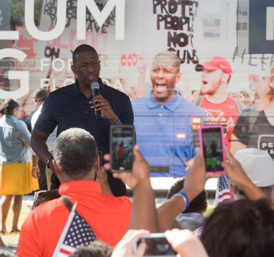 Andrew Gillum, the Democratic candidate running for the Florida Governor's office speaks during a rally at Arlene Williams BBQon Wednesday, Oct. 31, 2018. Gillum's stop at Arlene's was his second of two appearances in Pensacola during his campaign stop.