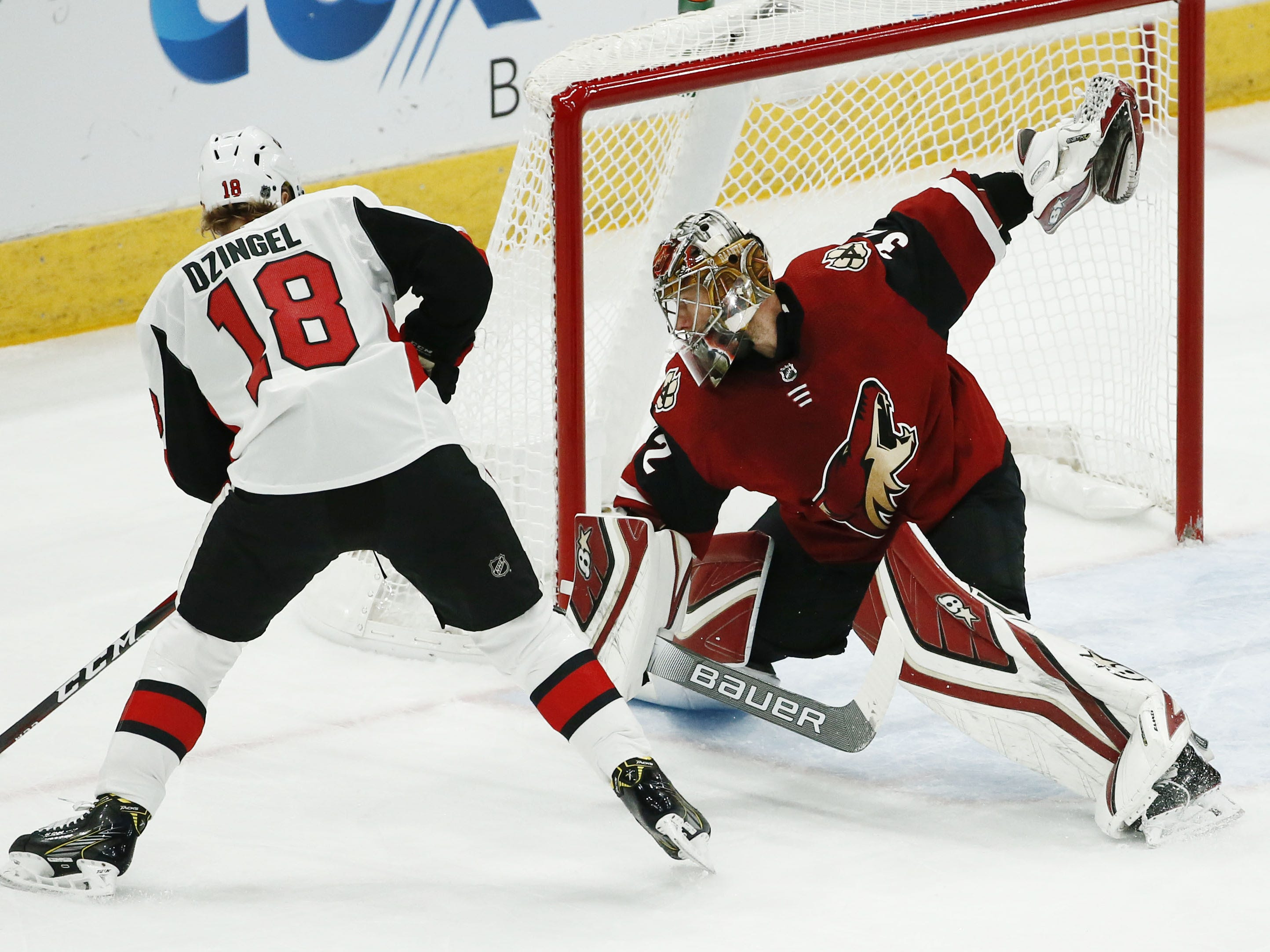 Arizona Coyotes goalie Antti Raanta blocks a shot by Ottawa Senators center Ryan Dzingel in the first period on Oct. 30, 2018 at Gila River Arena.