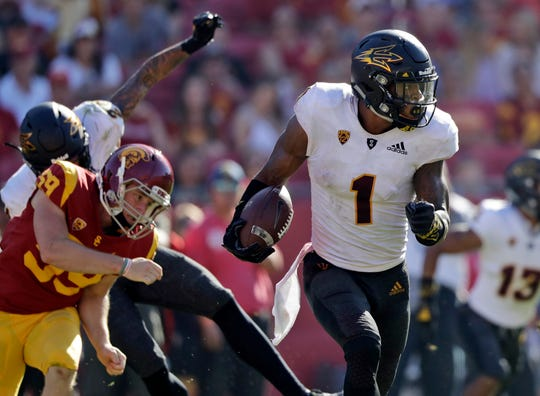 Arizona State wide receiver N'Keal Harry (1) returns a punt for a touchdown against Southern California during the second half of an NCAA college football game Saturday, Oct. 27, 2018, in Los Angeles.