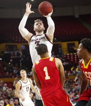 Arizona State Sun Devils forward Mickey Mitchell (3) puts a shot up against Arizona Christian in the second half during exhibition play Oct. 30.