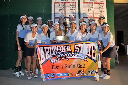 The Phoenix Xavier girls golf team celebrates its 36th Arizona high school state title on Oct. 30, 2018.