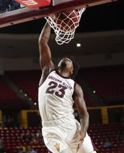 Arizona State Sun Devils forward Romello White (23) slams two against Arizona Christian in the second half during exhibition play Oct. 30.