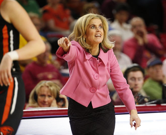 Arizona State head coach Charli Turner Thorne directs her defense against Oregon State during a PAC-12 game at Wells Fargo Arena in Tempe, Ariz. February 25, 2018.