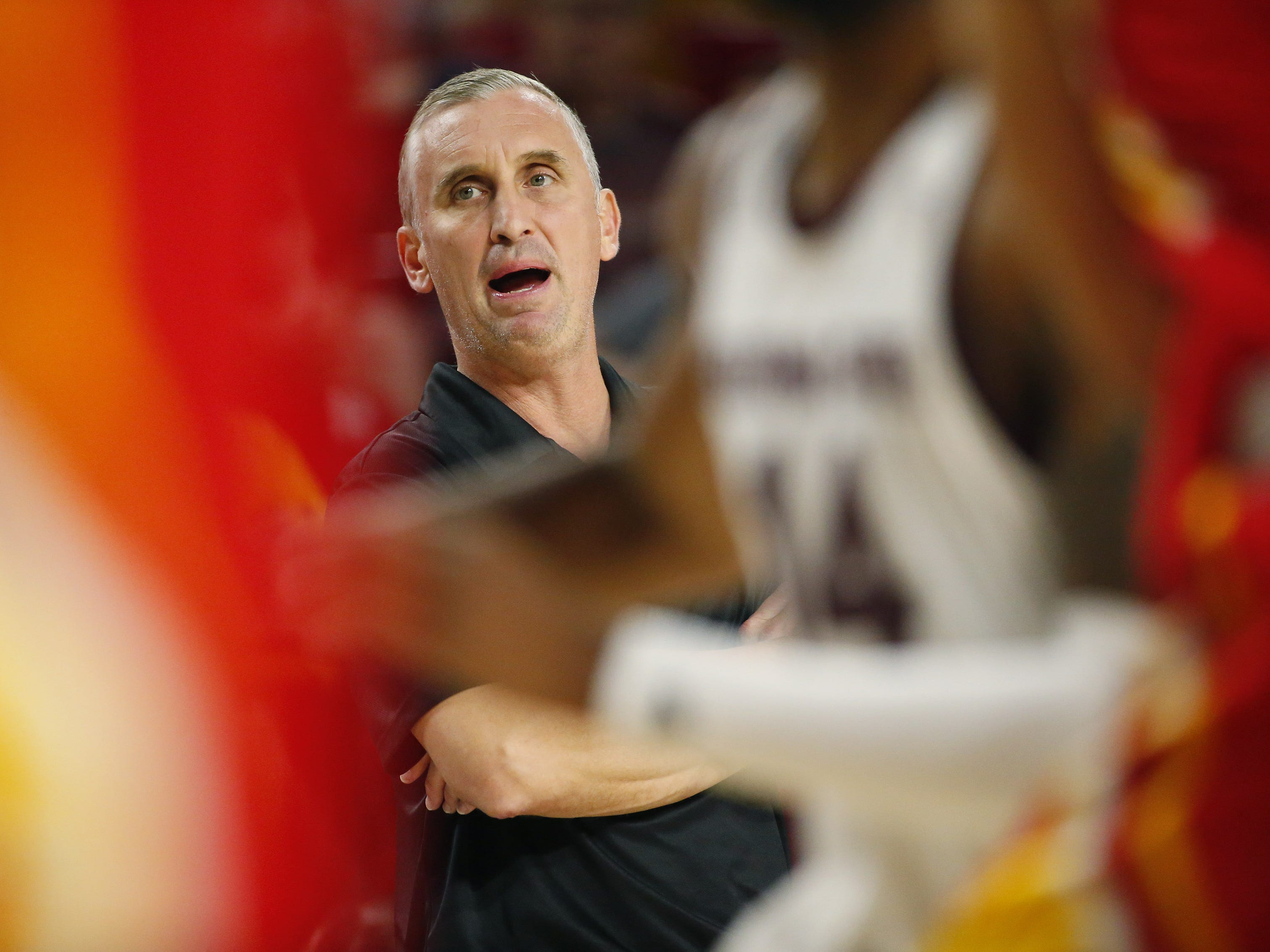 Arizona State head coach Bobby Hurley instructs his team in the second half during exhibition play against Arizona Christian Oct. 30.