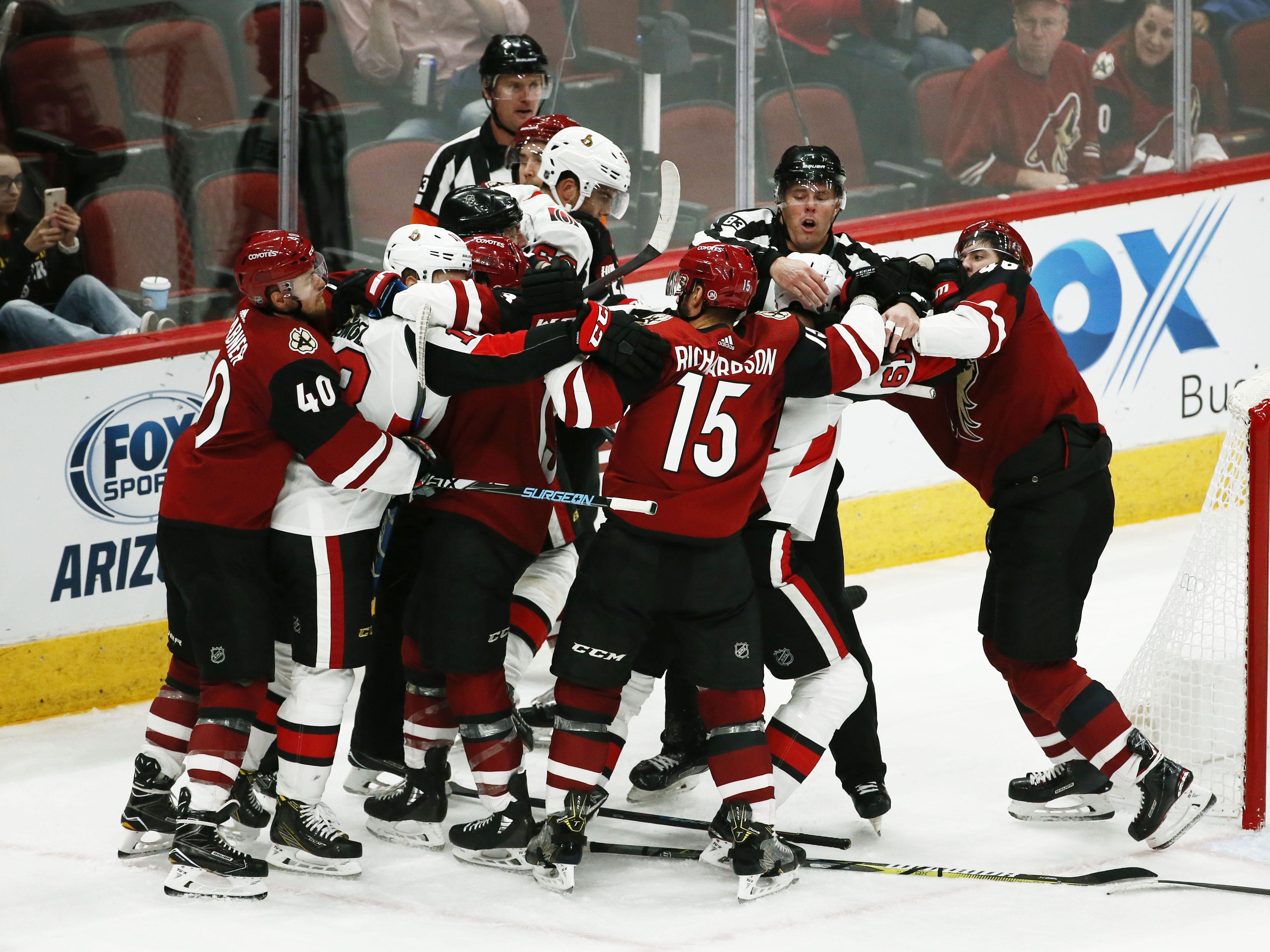 Arizona Coyotes' Ilya Lyubushkin fights with Ottawa Senators' Mark Stone in the third period on Oct. 30, 2018 at Gila River Arena.