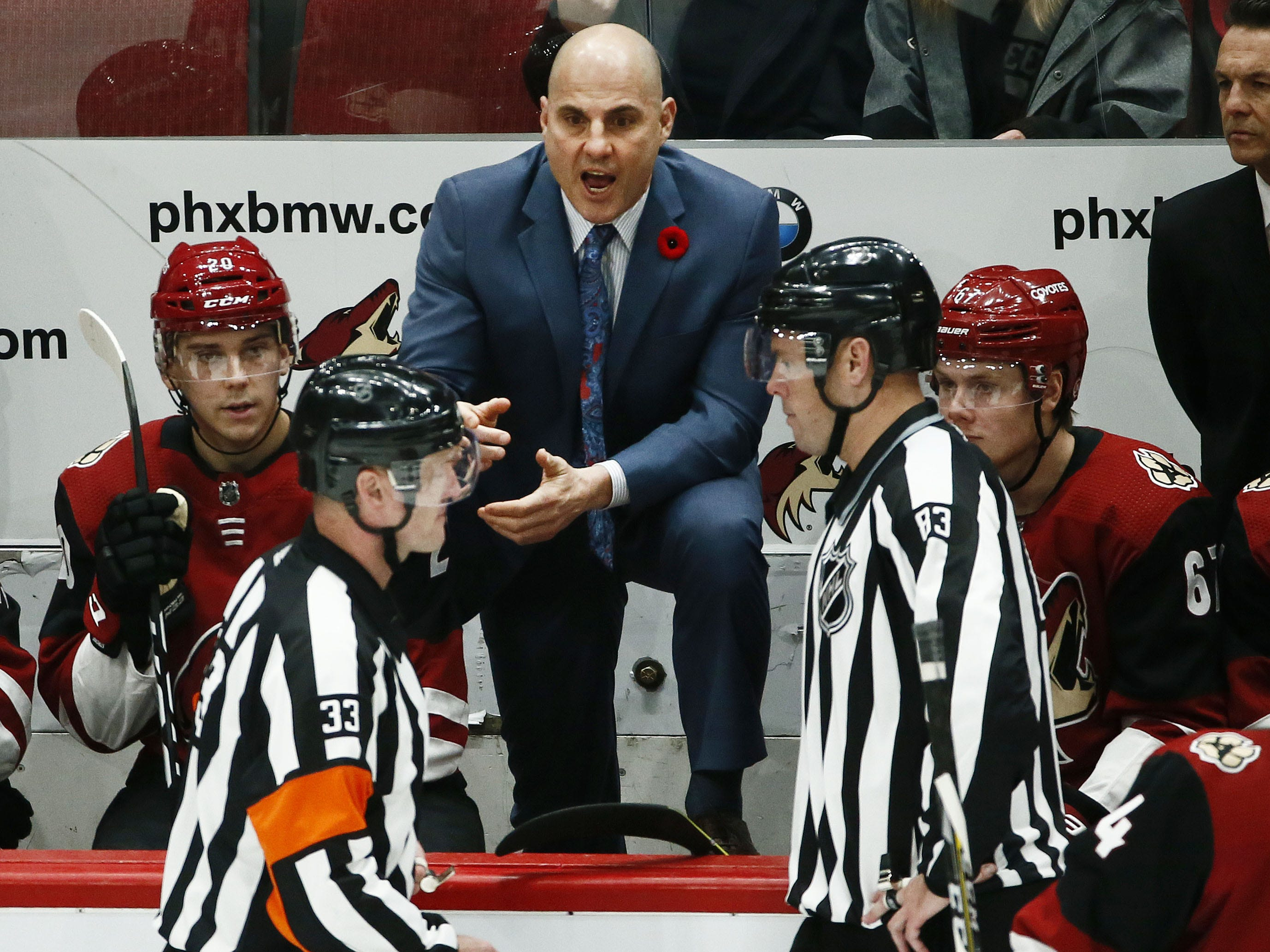 Arizona Coyotes head coach Rick Tocchet calls for a coach's challenge and wins for goal interference against Ottawa Senators in the second period on Oct. 30, 2018 at Gila River Arena.