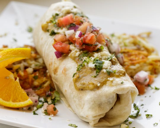 The chili verde burrito at Scramble – a Breakfast & Lunch joint.