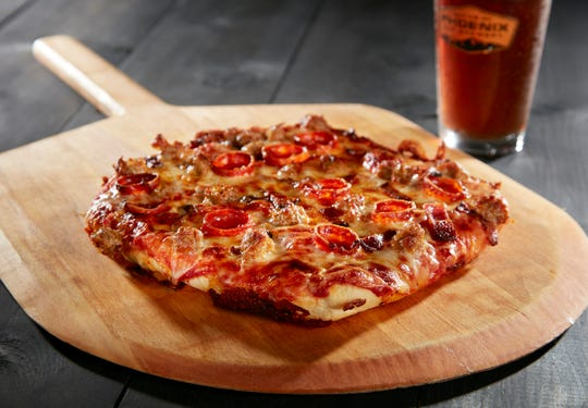 The black iron pizza at Phoenix Ale Brewery Central Kitchen.