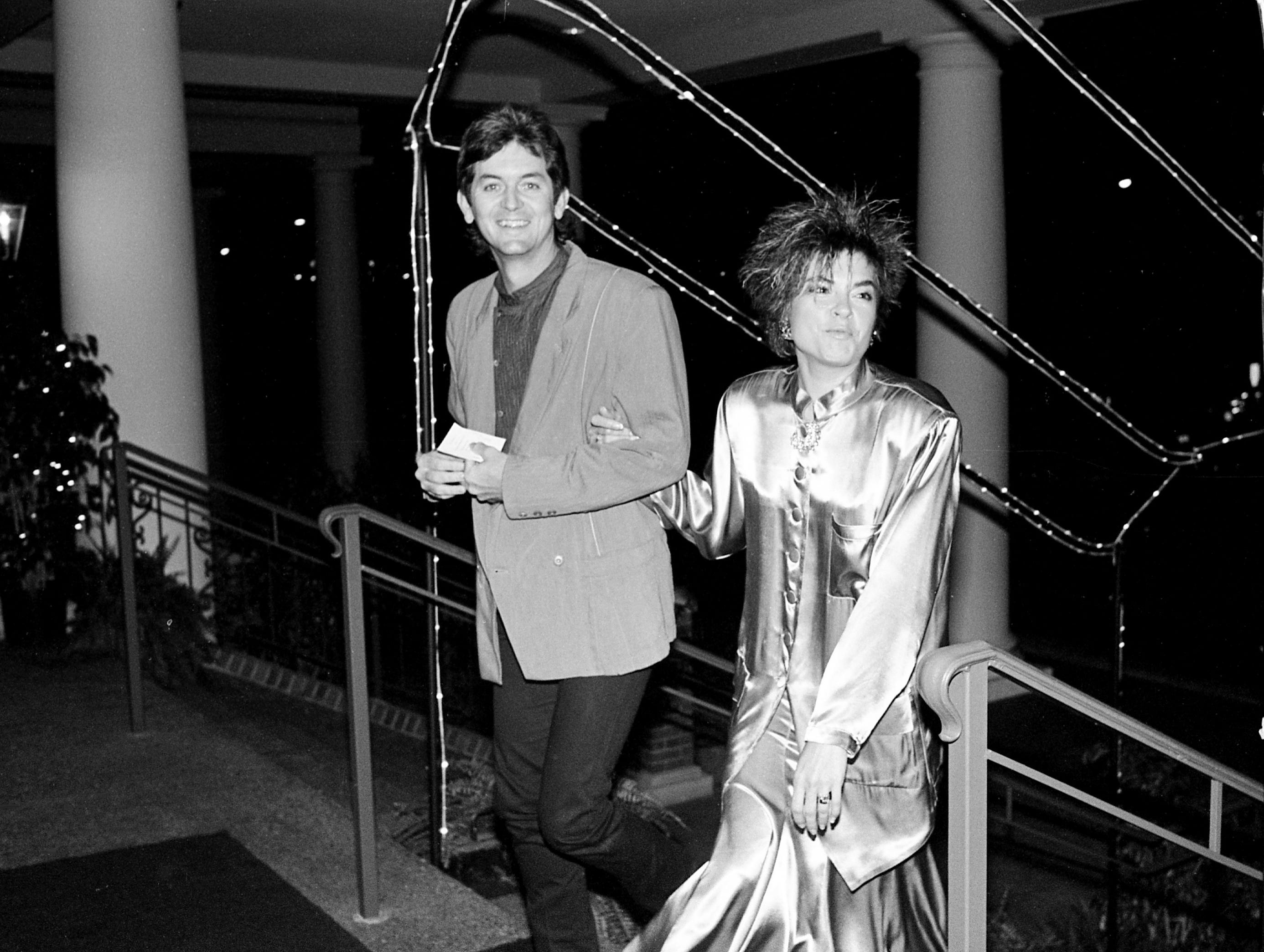 Rodney Crowell and wife Rosanne Cash arrive for the annual ASCAP Awards gala at the Opryland Hotel on Oct. 16, 1985, in Nashville, Tennessee.