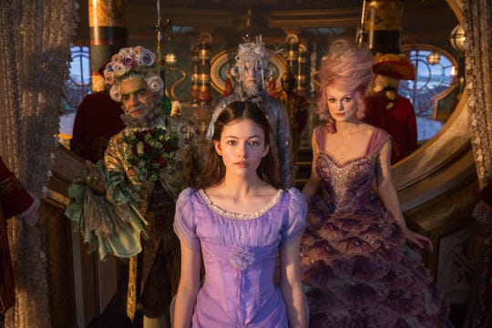 "Mackenzie Foy is Clara, Keira Knightley is Sugar Plum Fairy, Eugenio Derbez is Hawthorne, and Richard E. Grant is Shiver in Disney's ""The Nutcracker and the Four Realms."""
