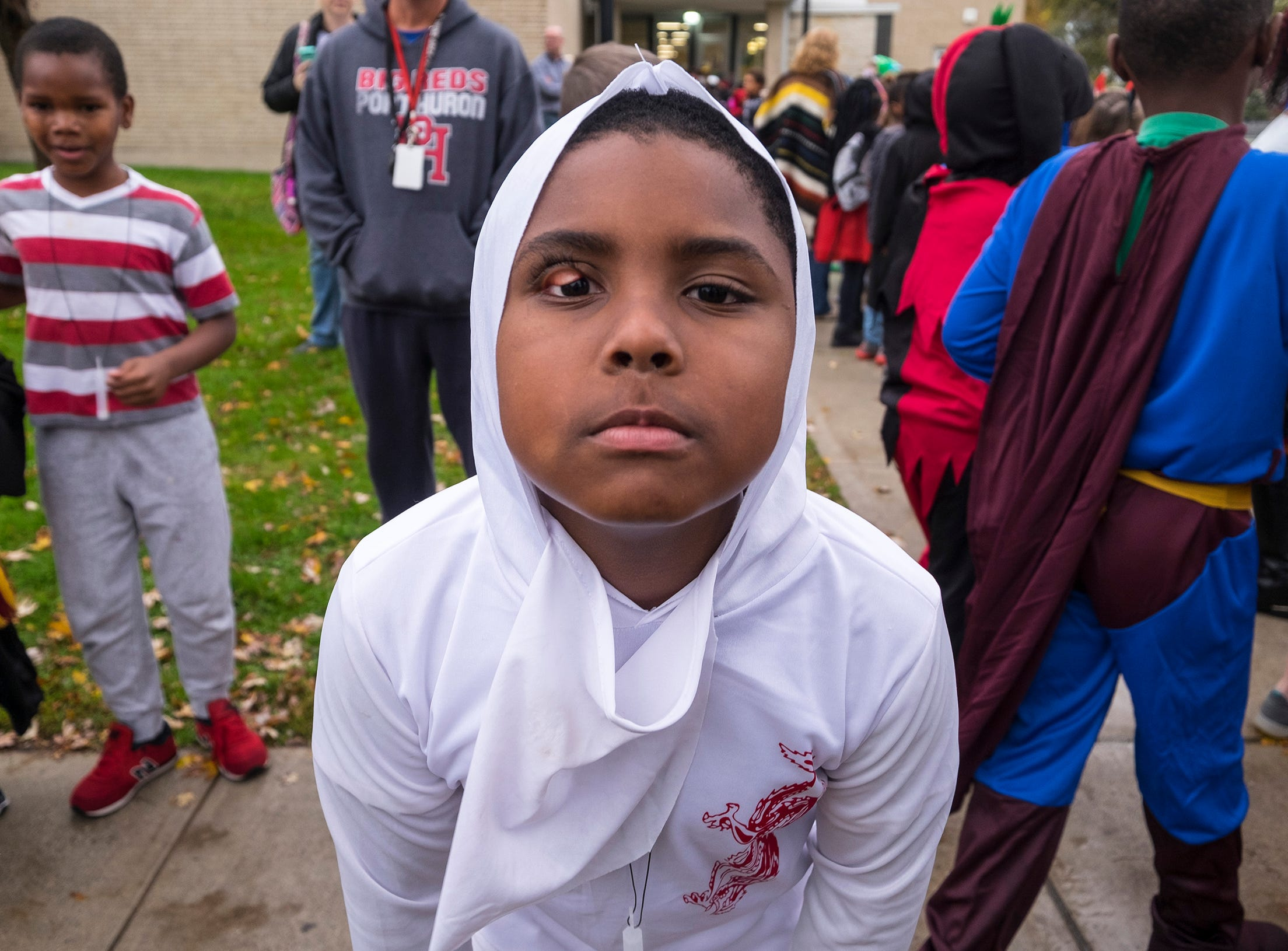 STEAM Academy at Woodrow Wilson third-grader Jeremiah Brown poses for a photo during the school's Halloween parade Wednesday, Oct. 31, 2018.