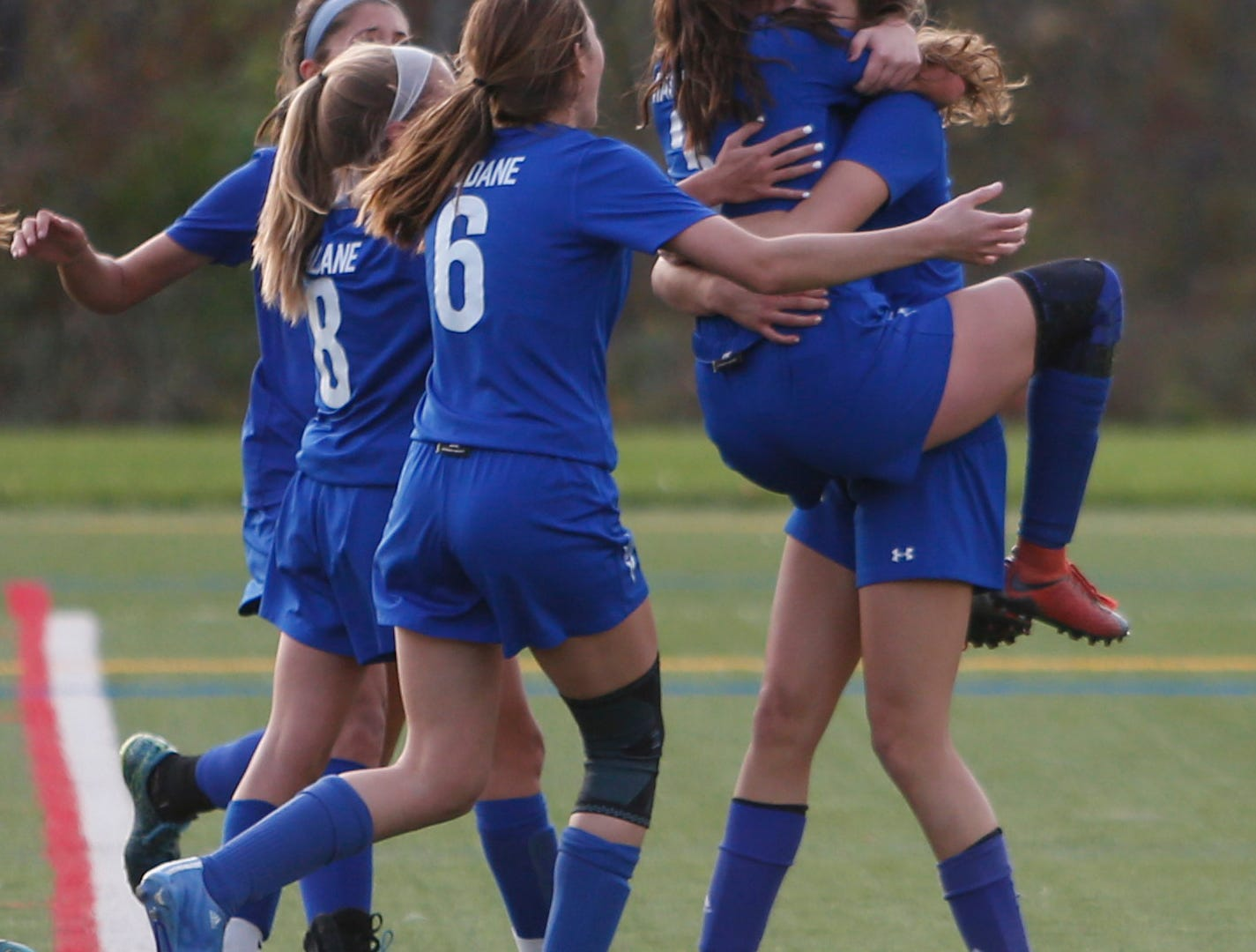 Haldane celebrates scoring a goal to take the lead in overtime during Wednesday's Class C regional semifinal over Millbrook in Freedom Plains on October 31, 2018.