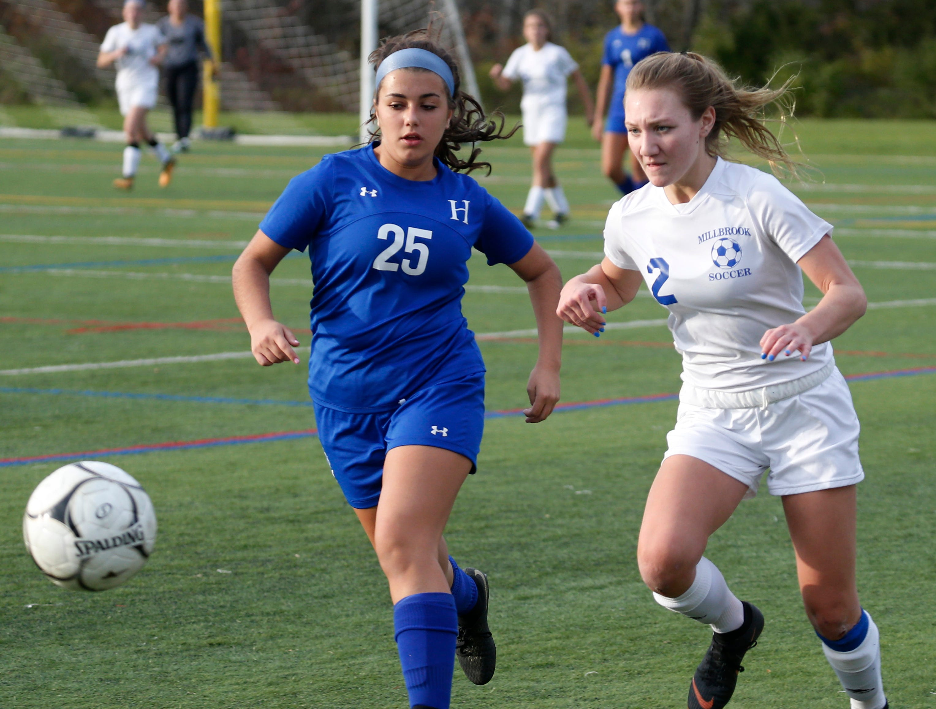 Haldane defender Alexandra Ferreira goes after a loose ball alongside Millbrook's Arianna Radovic during the Section 9 Class C girls soccer final.