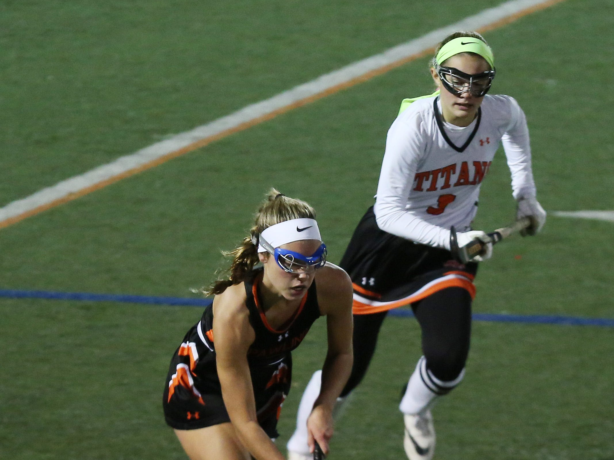 Pawling's Kiera Tucci (3) moves the ball up the field against Taconic Hills during the Class C field hockey regional semifinal at Dietz Stadium in Kingston Oct. 30, 2018. Pawling won the game 1-0.