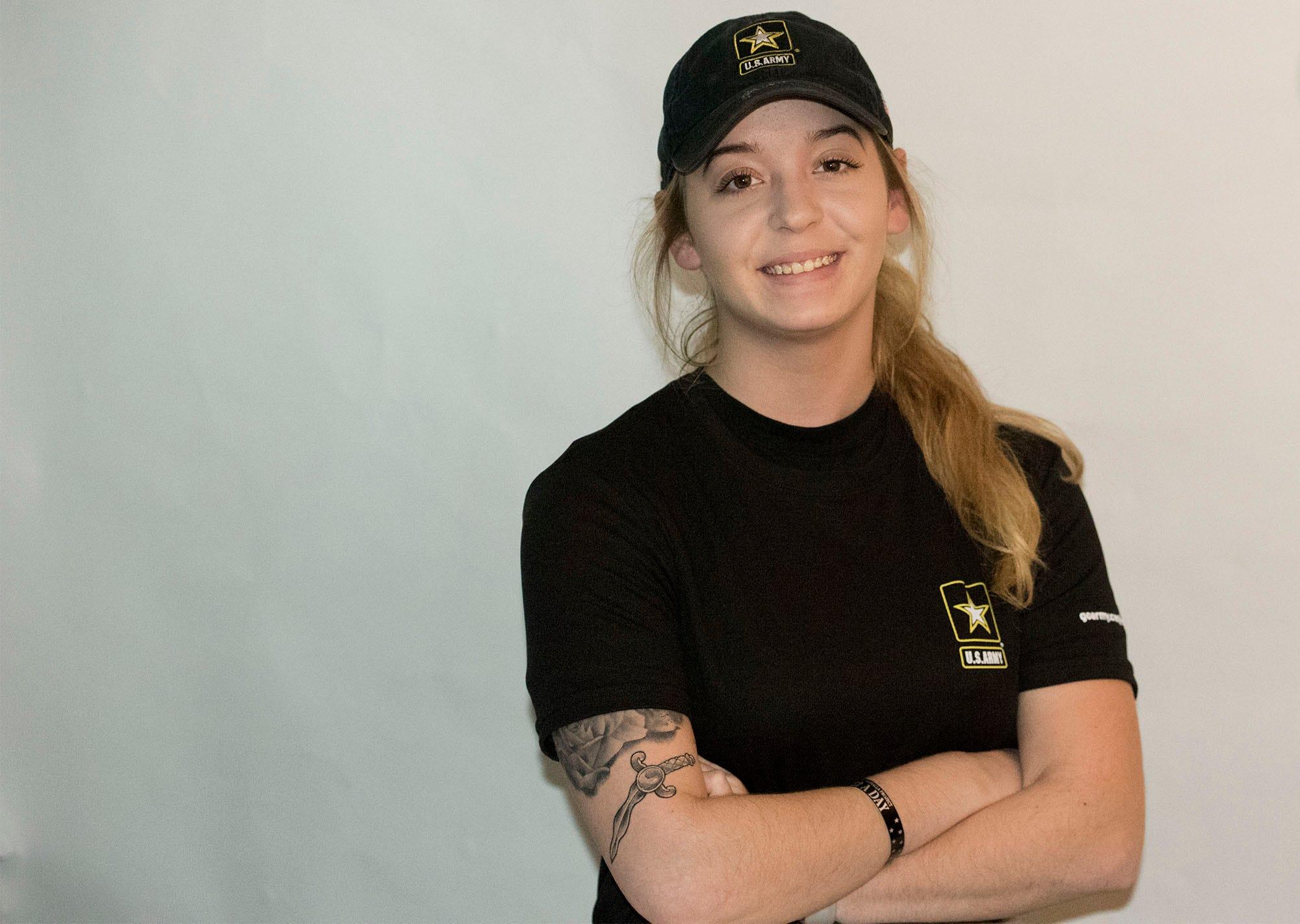 Breana Stine, Waynesboro, will soon head to Fort Benning miltary base, Georgia, to train in infantry.