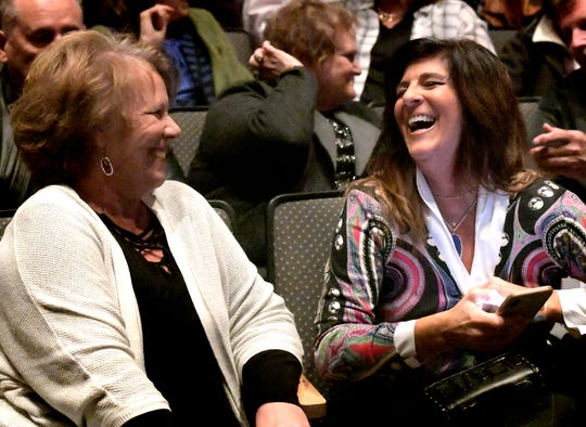 Lloyd Smucker's sister Sadie Crills, left, and his wife Cindy, share a laugh before the 11th Congressional District debate at Eastern York High School Tuesday, Oct. 30, 2018. Candidates, U.S. Rep. Smucker, and Democratic challenger Jess King, met for the debate. The event was sponsored by WGAL-TV and the York County Economic Alliance. Bill Kalina photo