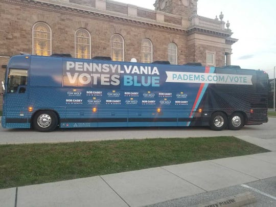 Democratic candidates took a stop during the PA Votes Blue bus tour at York City's Trunk or Treat event in the parking lot of St. Matthew Lutheran Church.