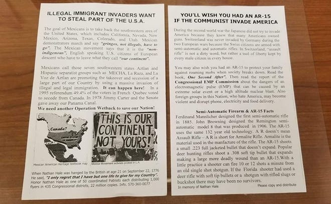 Racist, pro-gun flyers were placed on the cars of those attending the Tuesday, Oct. 30, debate between Rep. Lloyd Smucker and Jess King at Easter York High School.