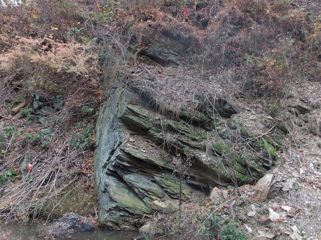 The Martic Line exposed in the Enola Low Grade Recreational Trail north of Quarryville.  Limestone is thrusted over schist.
