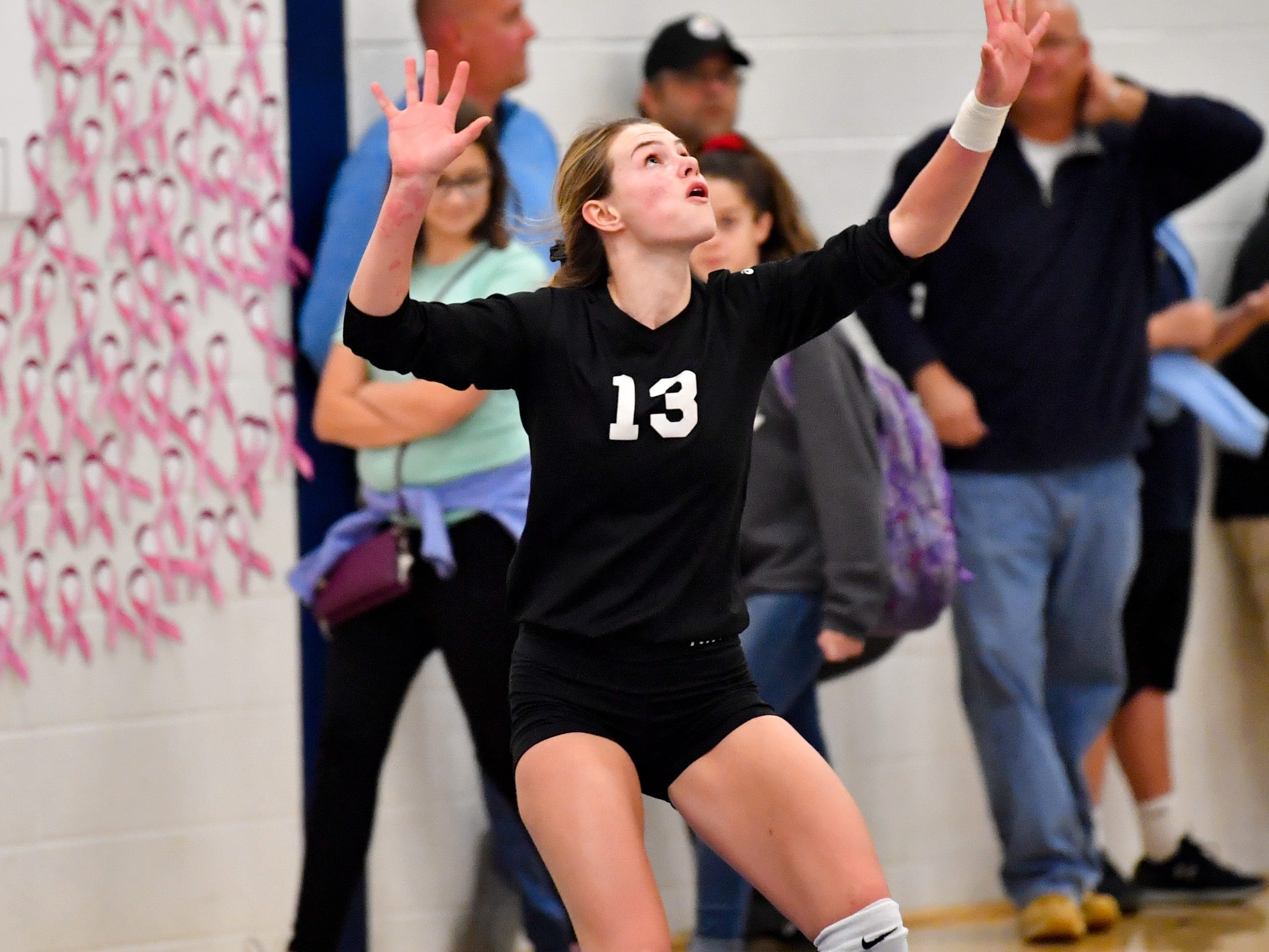 Elizabeth Mooney (13) serves the ball during the District 3 Class 3A girls' volleyball quarterfinals between Dover and York Suburban at West York High School, October 30, 2018. The Eagles defeated the Trojans 3-2.