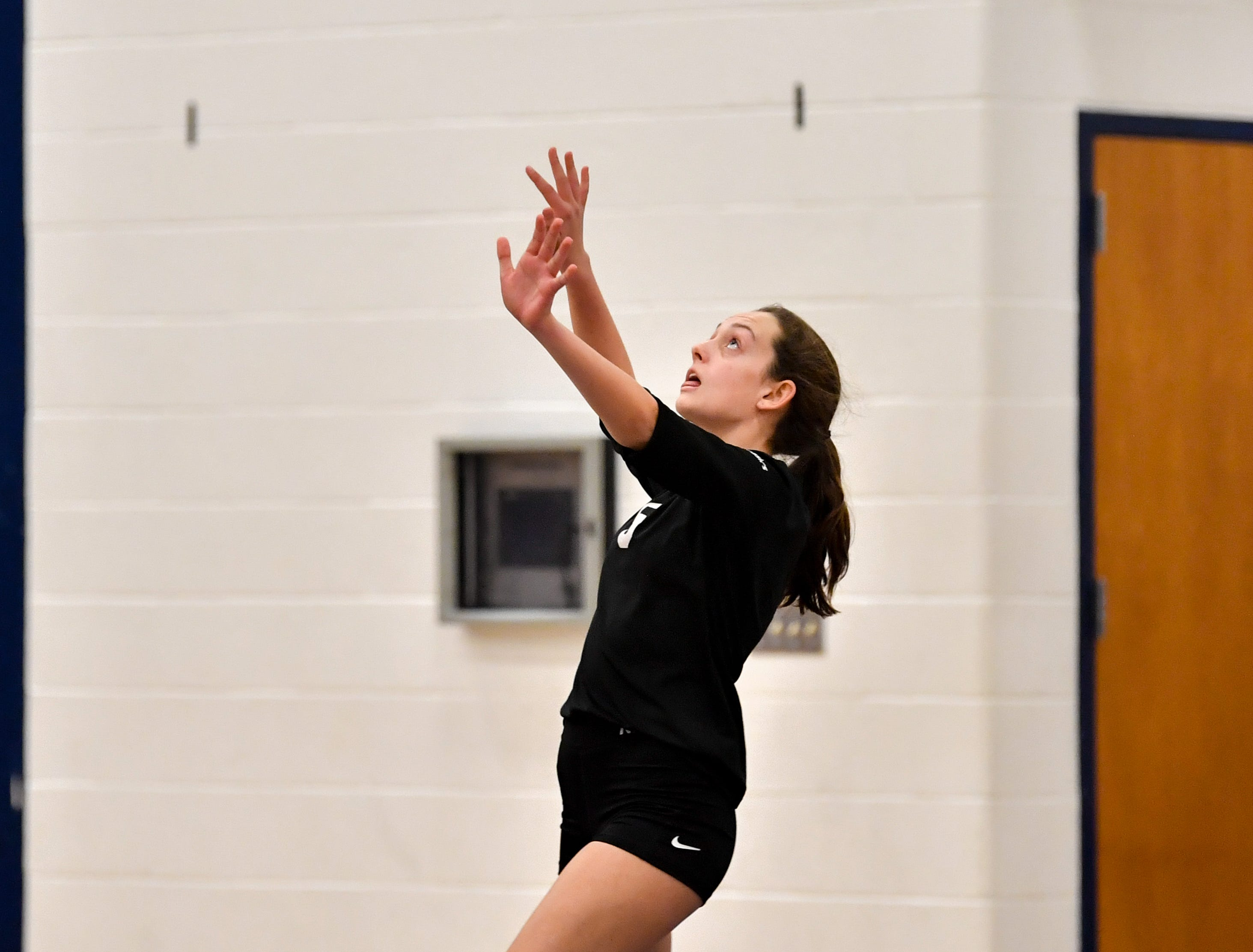 Mackenzie Corsa (5) winds up for the serve during the District 3 Class 3A girls' volleyball quarterfinals between Dover and York Suburban at West York High School, October 30, 2018. The Eagles defeated the Trojans 3-2.