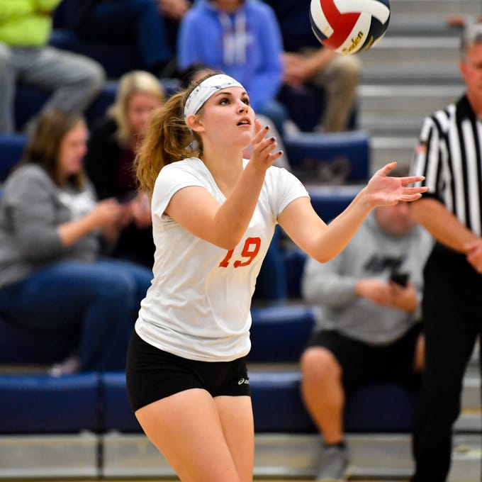 Dover's Emma Nace (19) tosses the ball up to serve during the District 3 Class 3A girls' volleyball quarterfinals between Dover and York Suburban at West York High School, October 30, 2018. The Eagles defeated the Trojans 3-2.