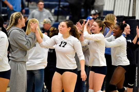 West York celebrate their quarterfinal win over Eastern York October 30, 2018. The Bulldogs defeated the Golden Knights 3-0.