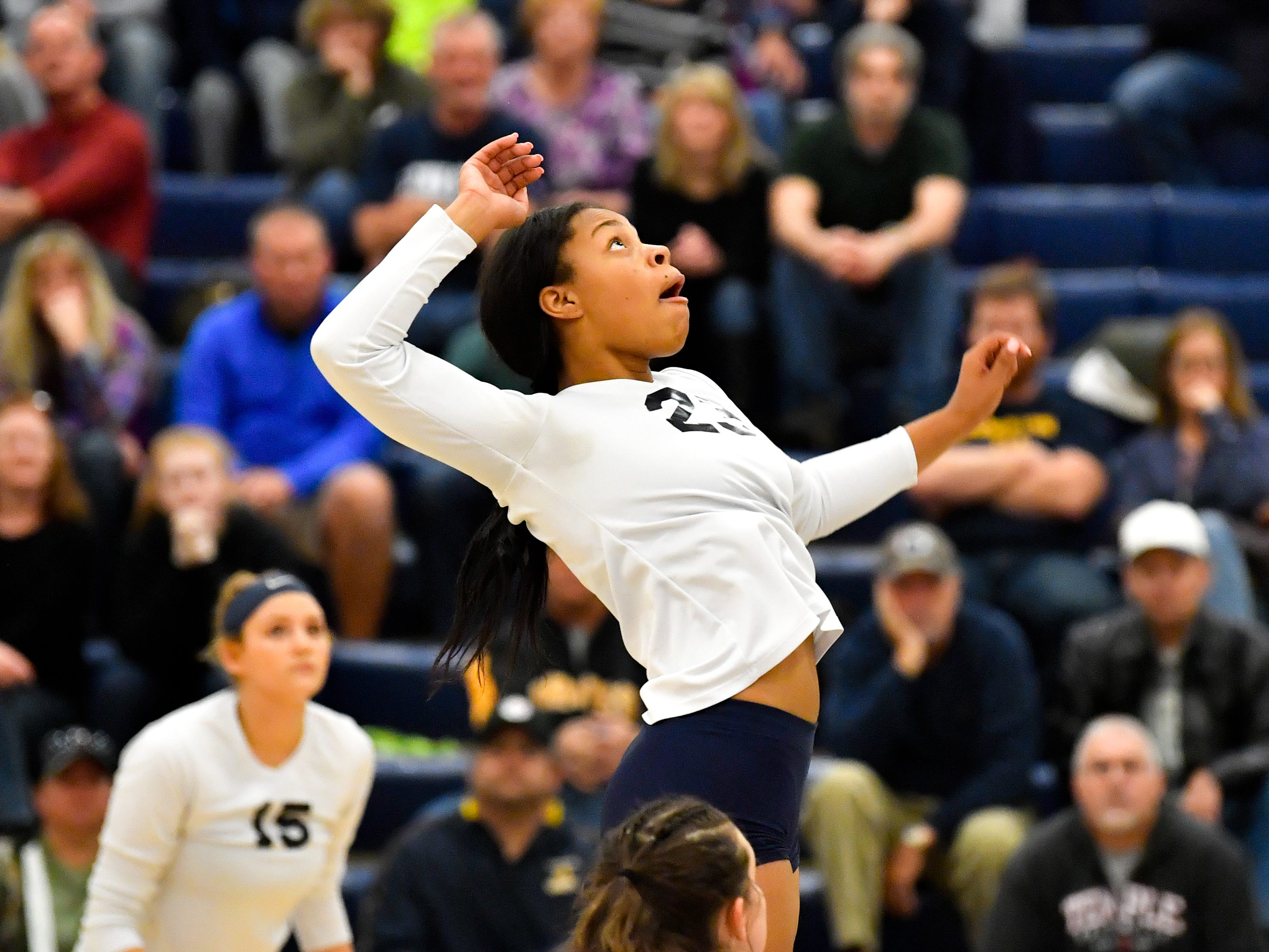 Alayna Harris (23) of West York rises up for the spike during the District 3 Class 3A girls' volleyball quarterfinals between West York and Eastern York at West York High School, October 30, 2018. The Bulldogs defeated the Golden Knights 3-0.