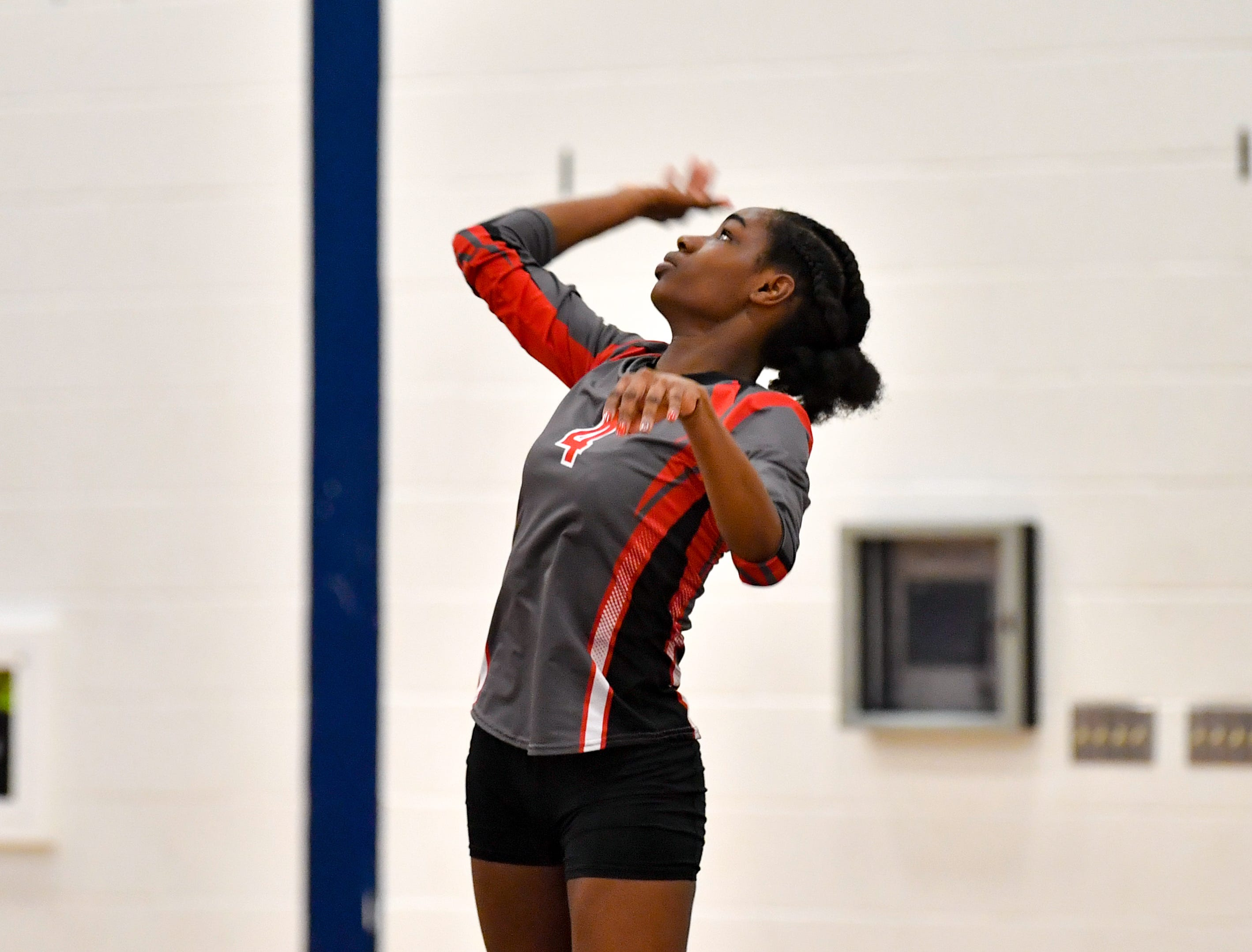 Frankie White (4) serves the ball during the District 3 Class 3A girls' volleyball quarterfinals between Dover and York Suburban at West York High School, October 30, 2018. The Eagles defeated the Trojans 3-2.