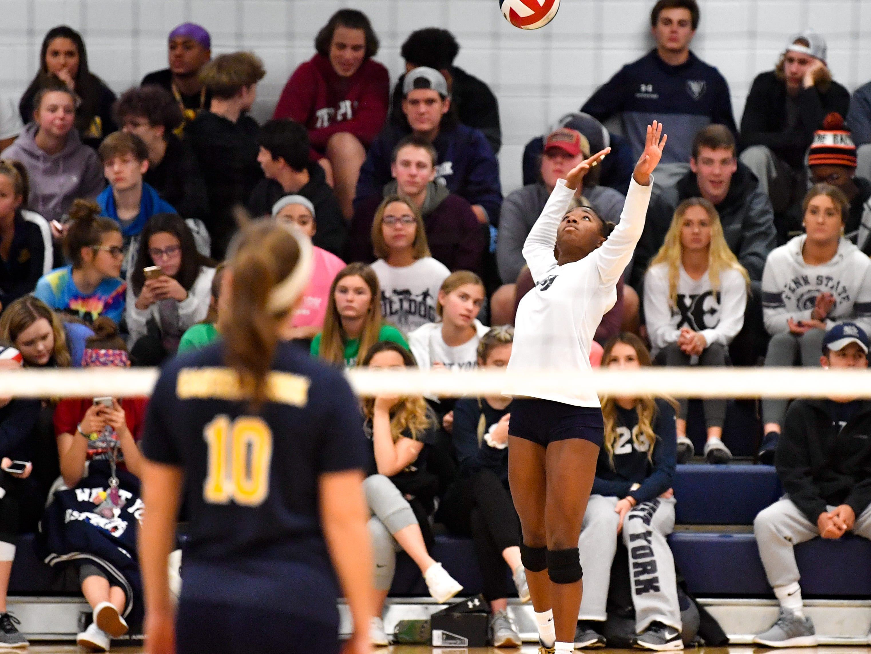 Tesia Thomas (19) serves the ball during the District 3 Class 3A girls' volleyball quarterfinals between West York and Eastern York at West York High School, October 30, 2018. The Bulldogs defeated the Golden Knights 3-0.