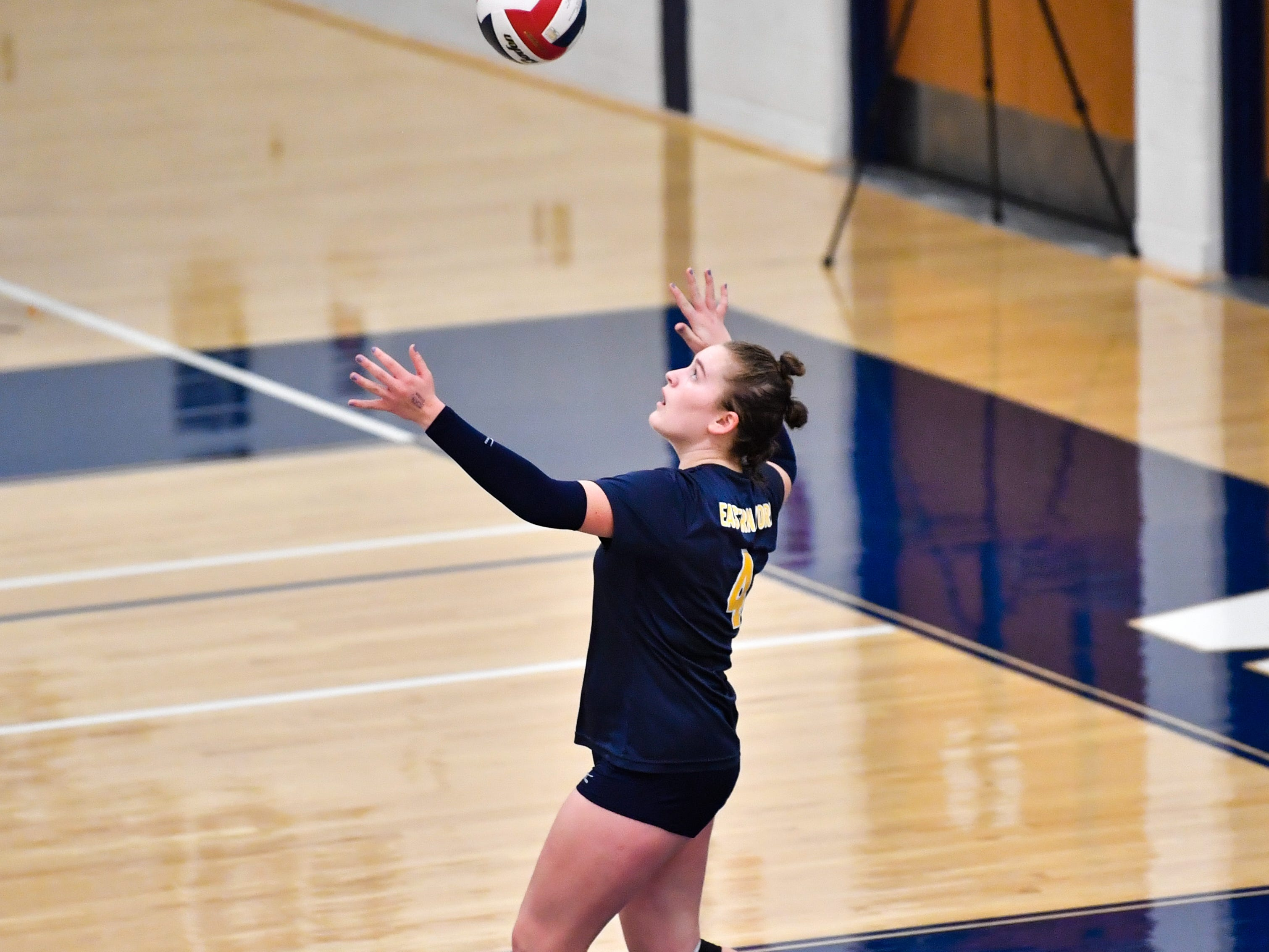 Sarah Moore (4) is up to serve during the District 3 Class 3A girls' volleyball quarterfinals between West York and Eastern York at West York High School, October 30, 2018. The Bulldogs defeated the Golden Knights 3-0.