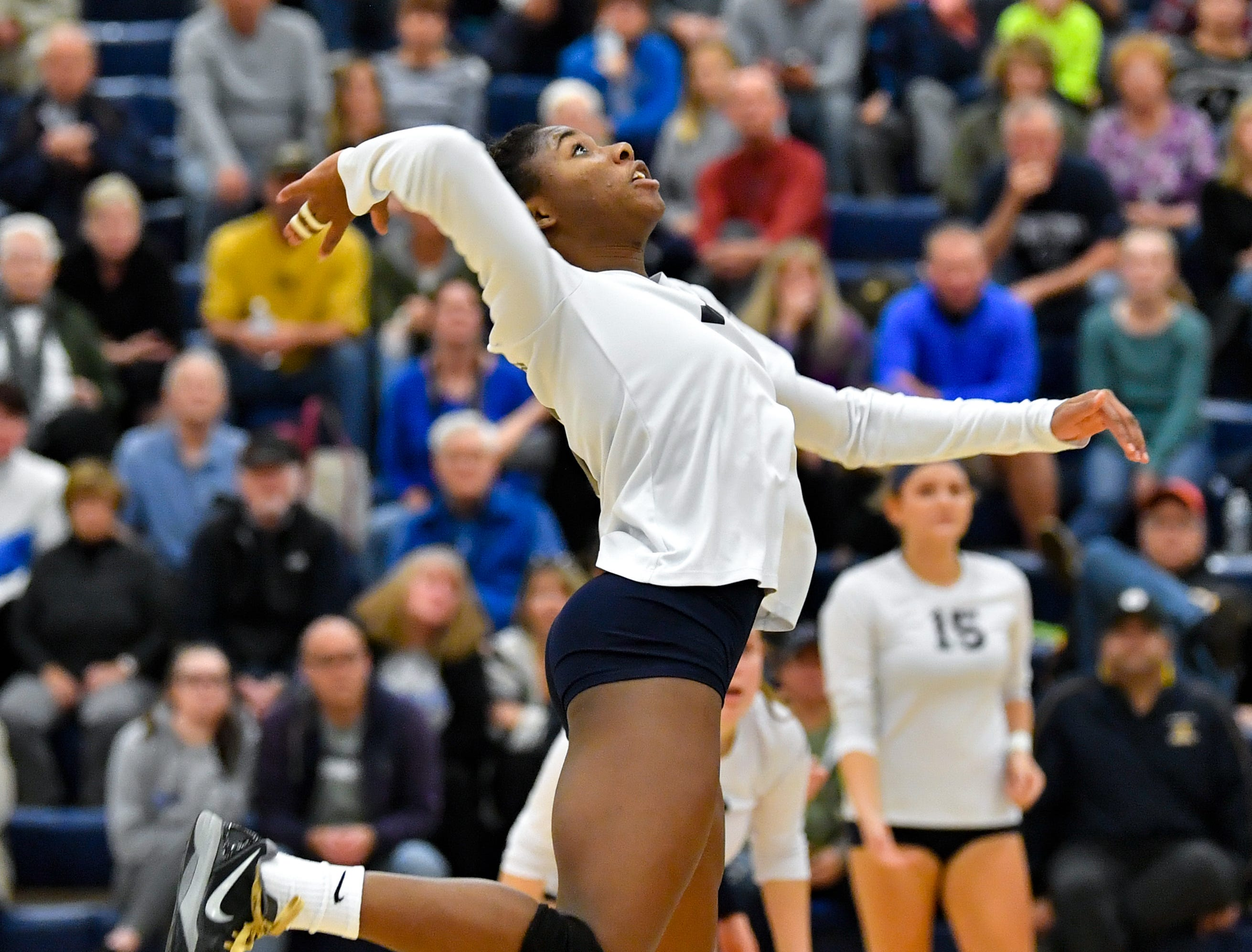 Tesia Thomas (19) tracks the ball during the District 3 Class 3A girls' volleyball quarterfinals between West York and Eastern York at West York High School, October 30, 2018. The Bulldogs defeated the Golden Knights 3-0.