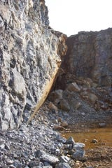 A fault exposed in the Codorus Stone and Supply Company quarry near Emigsville.