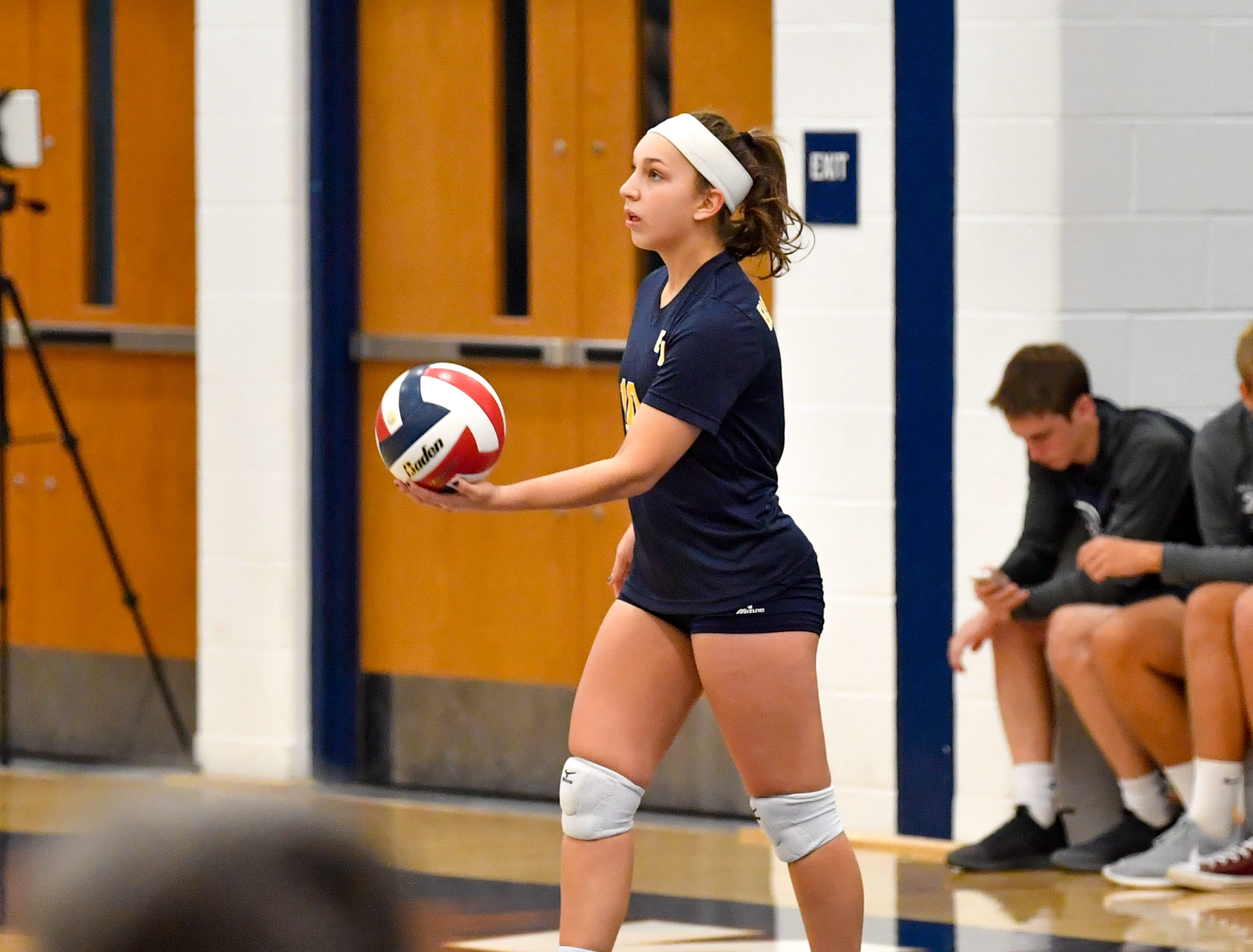 Katie Lehman (10) goes back for the serve during the District 3 Class 3A girls' volleyball quarterfinals between West York and Eastern York at West York High School, October 30, 2018. The Bulldogs defeated the Golden Knights 3-0.