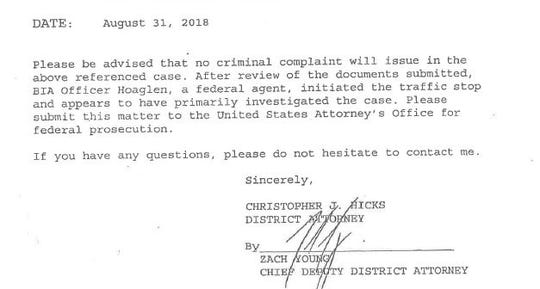 A Washoe County District Attorney's Office memo addresses one of the cases from a late August Bureau of Indian Affairs opioid interdiction operation.