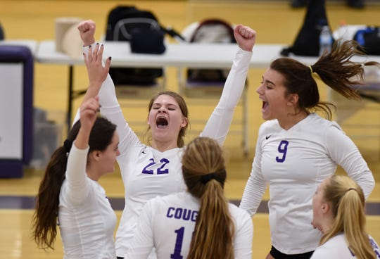 Spanish Springs celebrates a piont against Galena in the their regional playoff game at Spanish Springs on Oct. 30. Spanish Springs won 25-23, 25-16, 25-22.