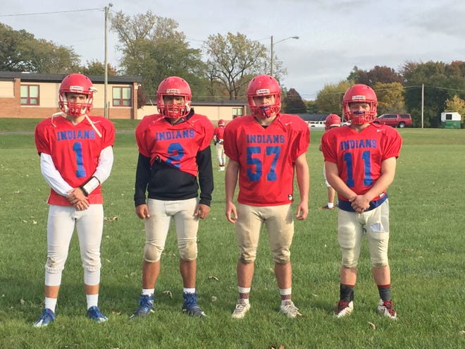 Mason Good, Akili Roberts, Zach Adkins and Joshua Crawford of the Union City football team.