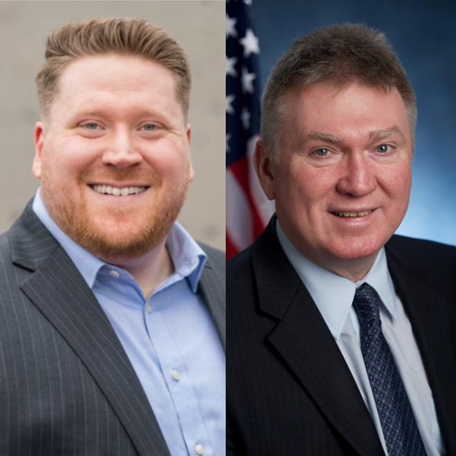 Democrat Andrew Gilchrist, left, and incumbent Republican Mark Johns will vie for the 135th Assembly seat next week.