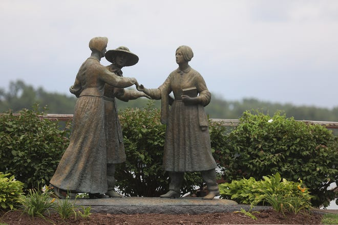 The statue, When Anthony Met Stanton, located on Bavard St. in Seneca Falls, was made to commemorate a chance encounter that turned into friendship and the start of the women's suffrage movement.  Amelia Jenks Bloomer ran into Susan B. Anthony in Seneca Falls in May 1851 and introduced her to Elizabeth Cady Stanton.