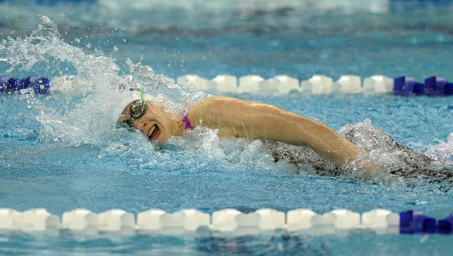 Pittsford's Lindsay Stone swims to victory in the 200-yard freestyle during the Section V Class A championships in 2014. Stone was a three-time All-Greater Rochester Swimmer of the Year.