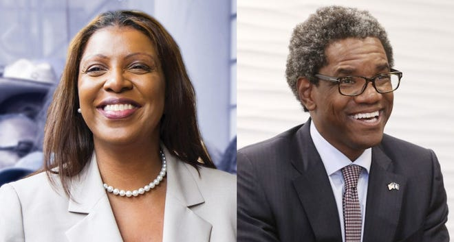 Letitia James, left, is the Democratic candidate for New York attorney general in 2018. Keith Wofford, right, is the Republican candidate.