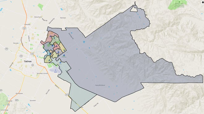 Map of the Alisal Union School District with enrollment boundaries for the 12 elementary schools that make up the district.