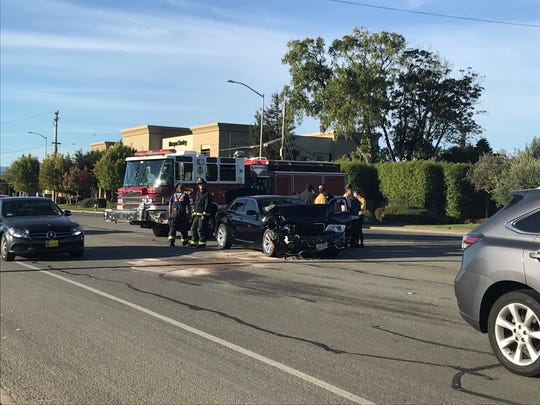 A car was totaled after rear-ending another car at Blanco Road and South Main Street Wednesday morning.