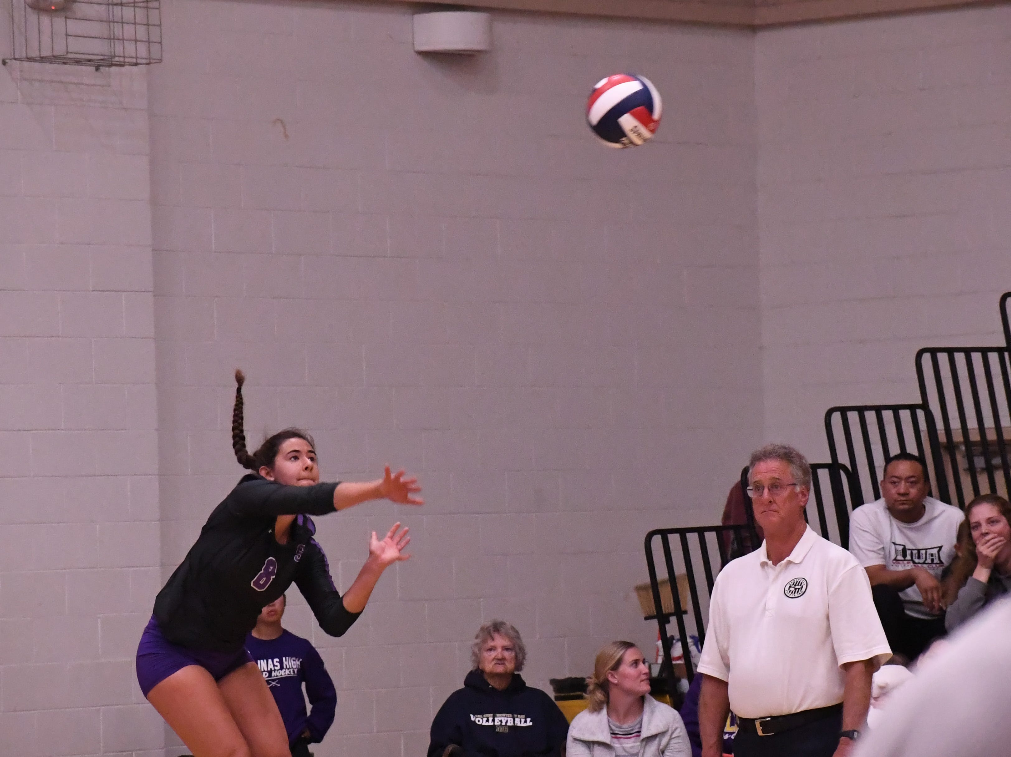 Middle blocker Christina Chagnon (8) launches a jump serve in the second set.