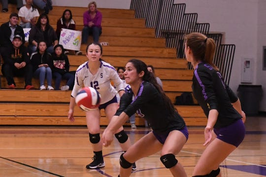 Julie Foley (3), seen here in fall playing volleyball, was one of the key newcomers to the Salinas girls' track team this spring that propelled them to a league title.