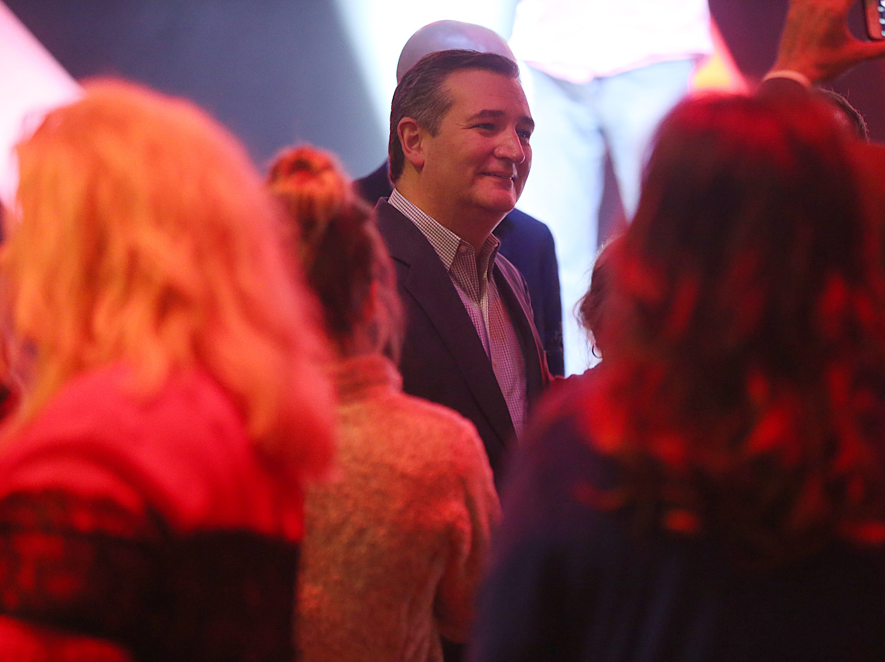 Sen. Ted Cruz poses for photos with supporters Tuesday, Oct. 30, 2018, during his campaign stop at The Life Church in San Angelo.