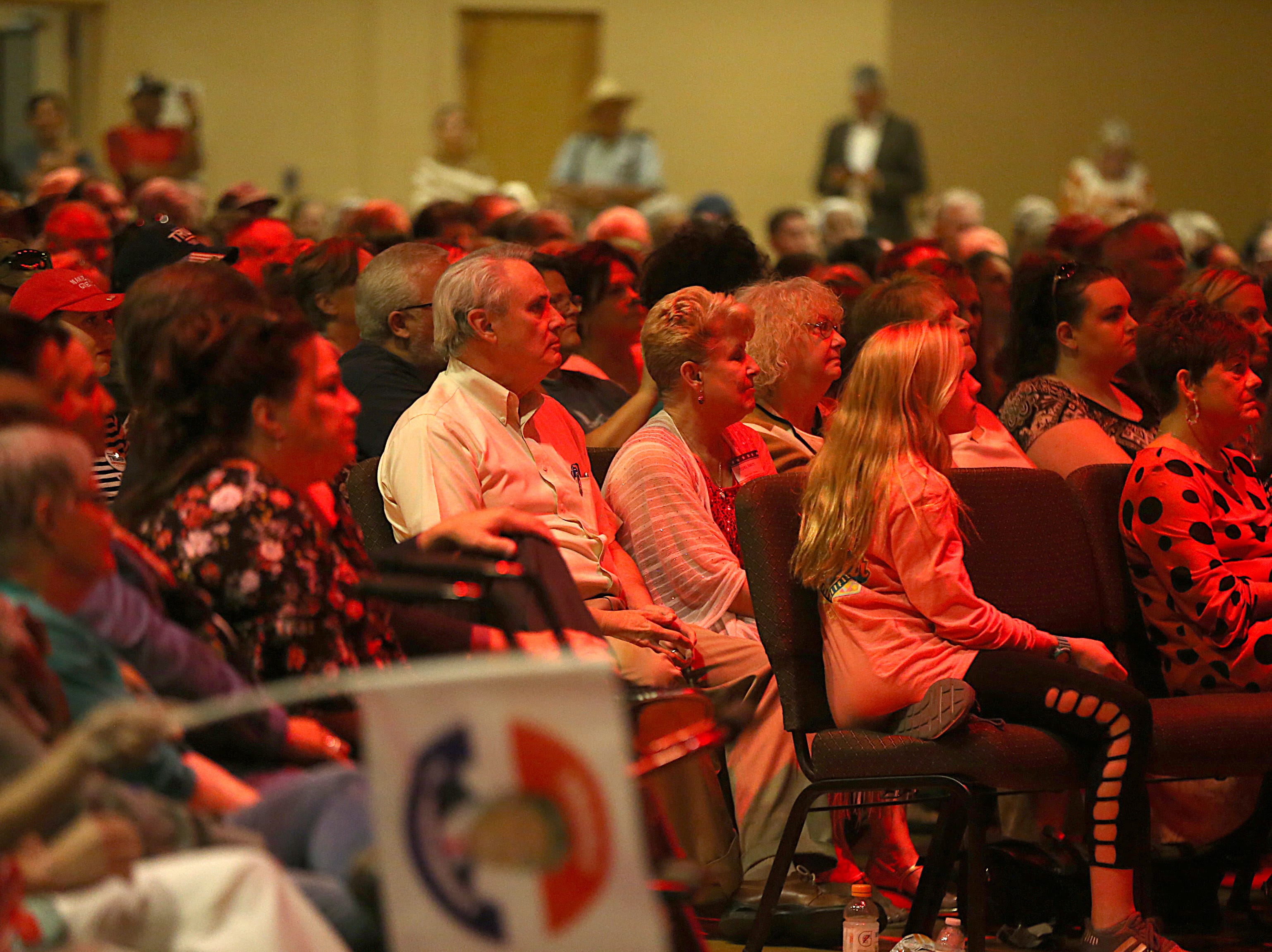 Supporters of Sen. Ted Cruz listen to the senator's speech Tuesday, Oct. 30, 2018, during his campaign stop at The Life Church in San Angelo.