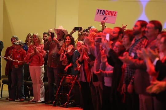 Supporters of Sen. Ted Cruz cheer for him Tuesday, Oct. 30, 2018, during his campaign stop at The Life Church in San Angelo.